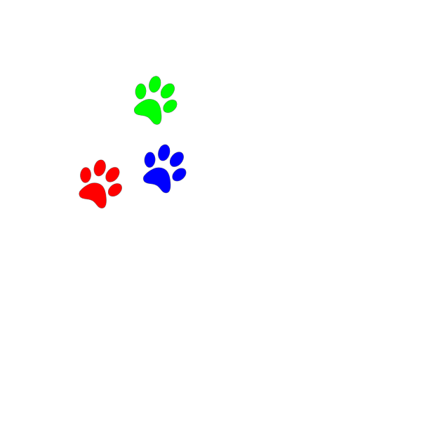 Primary Colors Paw Prints PNG Clip art