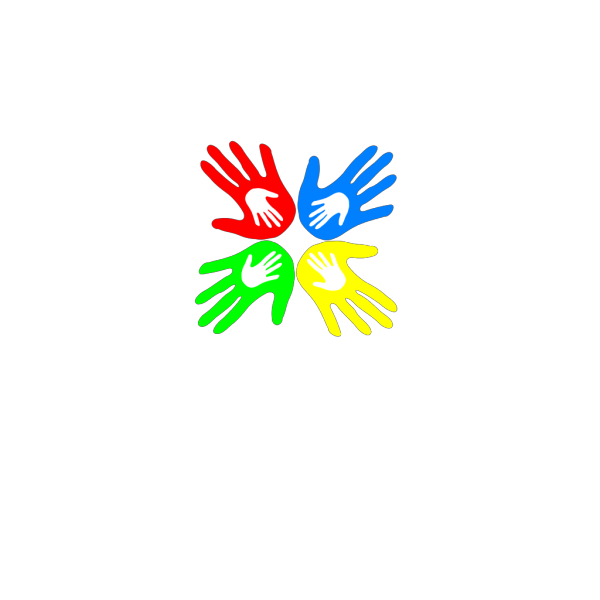 Four Colored Hands 45 Degree PNG Clip art