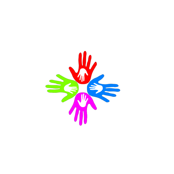 Four Colored Hands 4 PNG Clip art