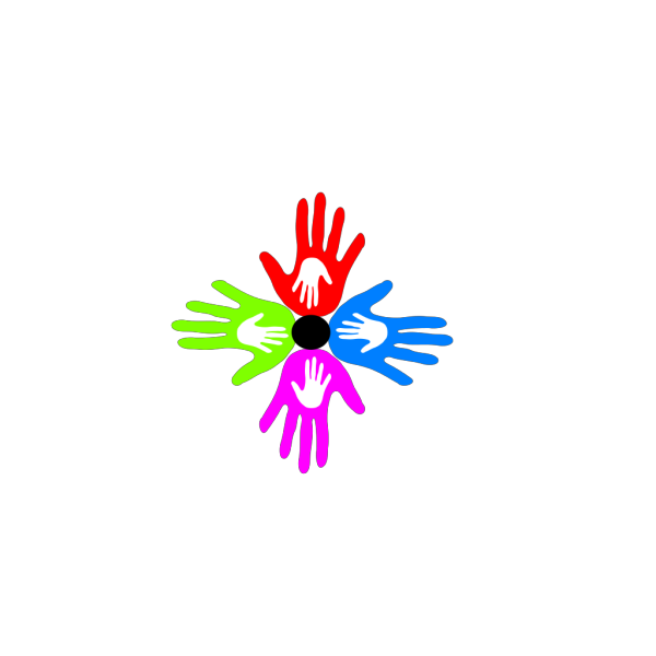 Four Colored Hands Grq PNG Clip art