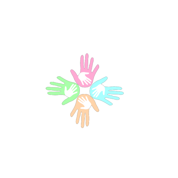 Four Colored Hands Pastel 2 PNG Clip art