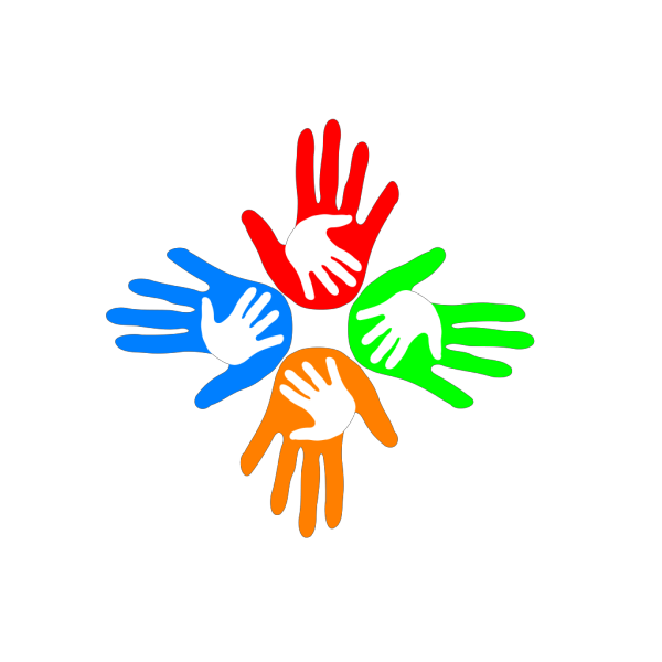 Four Colored Hands 1 PNG Clip art