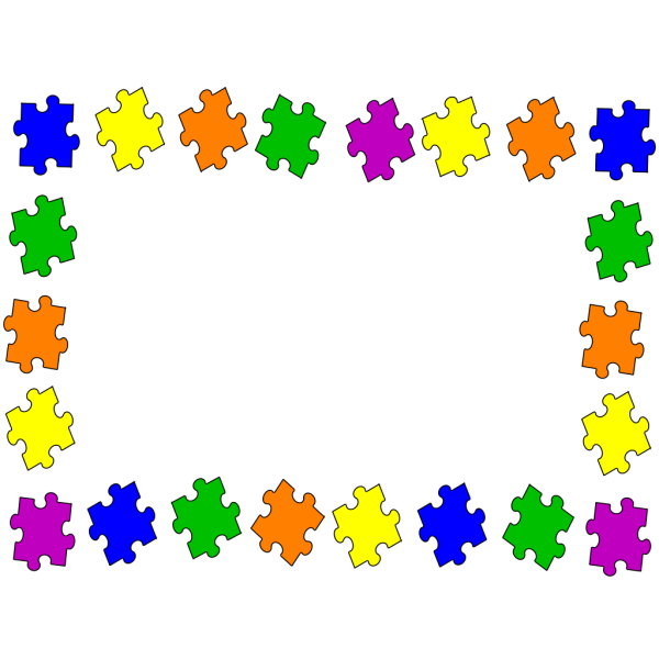 Orizontal Jigsaw Boarder PNG Clip art