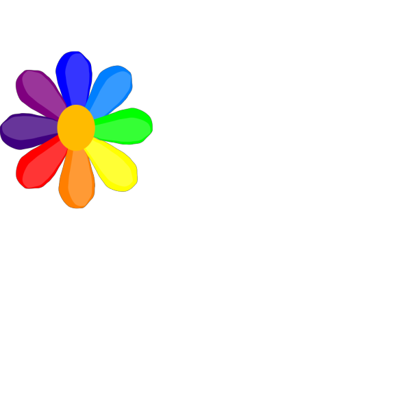 Bright Rainbow Flower PNG Clip art