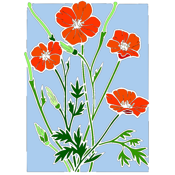 Colored Poppy Stained Glass PNG Clip art