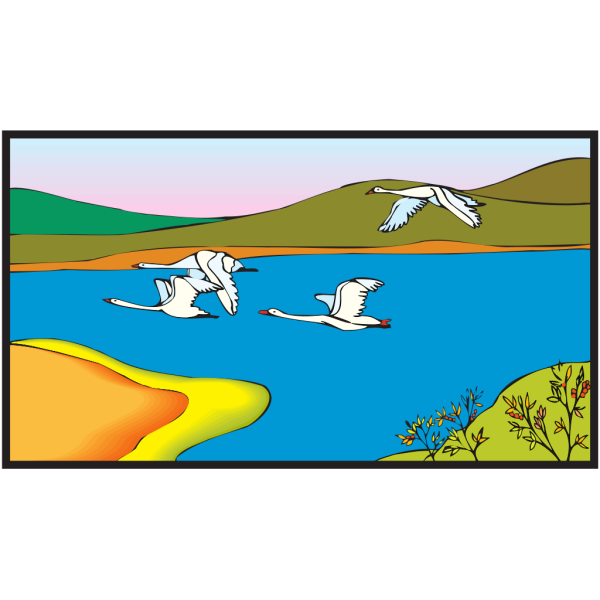 Geese Flying Over A Lake PNG images