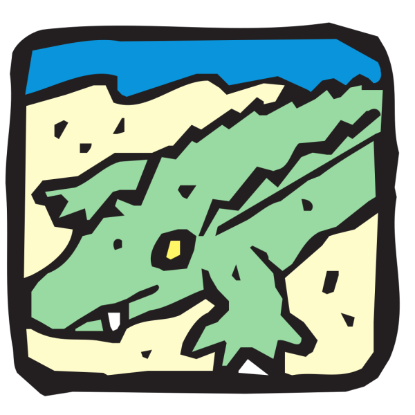 Alligator On The Sand PNG images
