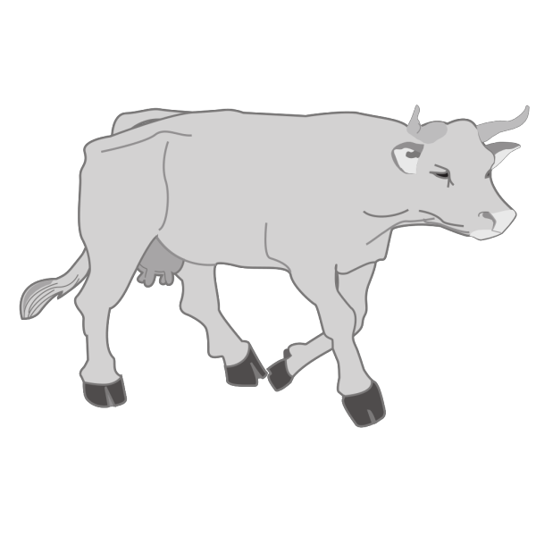 Gray Walking Cow PNG Clip art