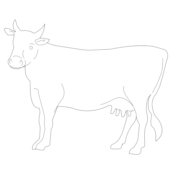 Cow Side View Outline PNG images