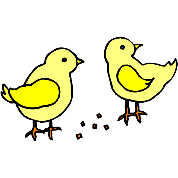 Chicks With Feed PNG Clip art
