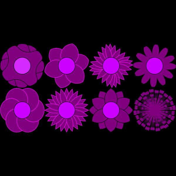 Set Of 15 Colorful Flower Shapes PNG Clip art