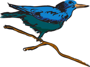 Blue Perched Bird Art PNG Clip art