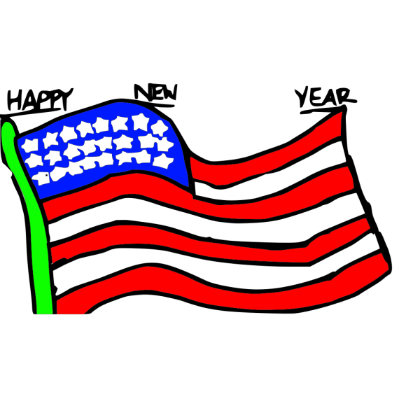 Happy New Year Us Flag PNG Clip art
