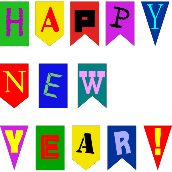 New Year Flags  PNG Clip art