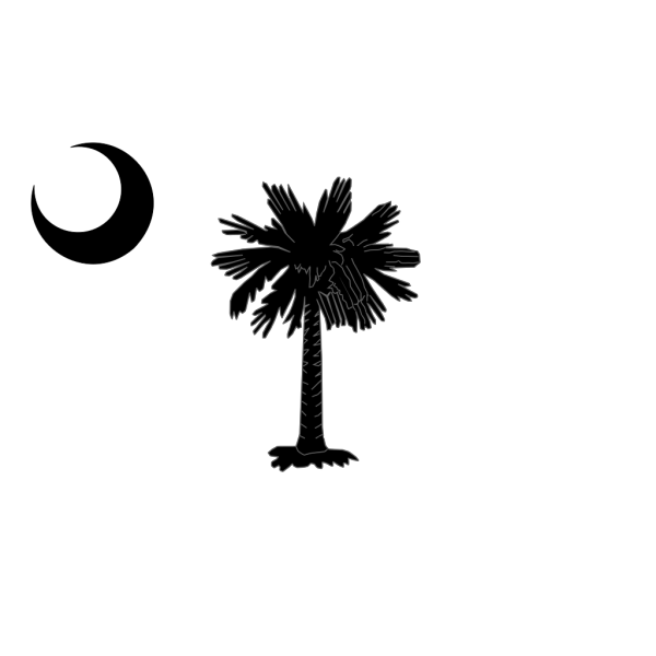 South Carolina State Flag Palmetto And Crescent Moon In Black PNG Clip art