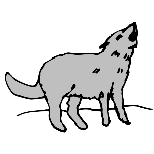Gray Howling Coyote PNG Clip art