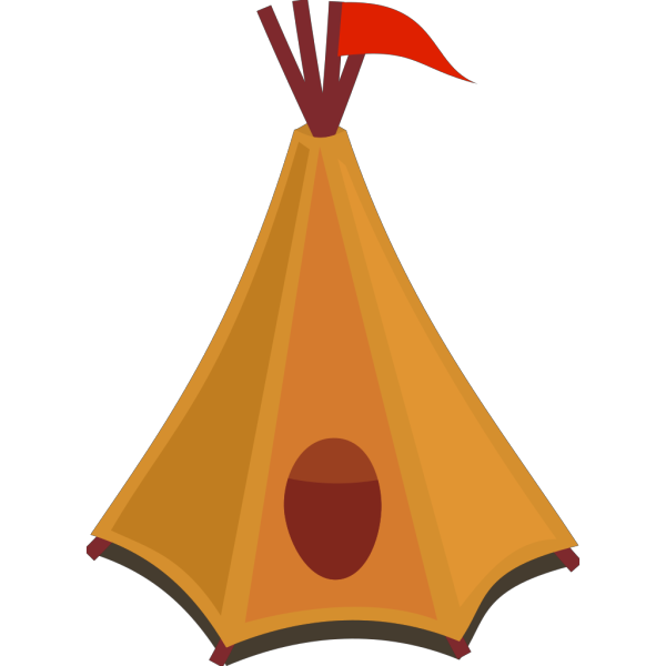 Cartoon Teepee With Red Flag PNG Clip art