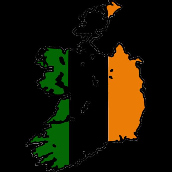 Ireland Flag Map PNG Clip art