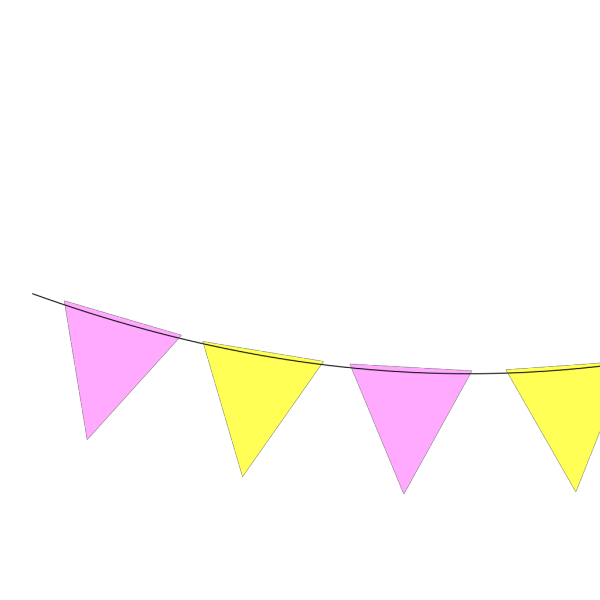 Pink Yellow Bunting PNG Clip art