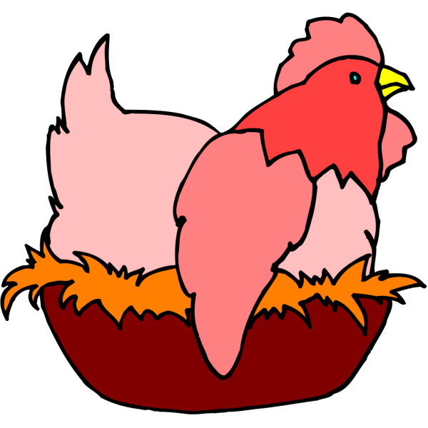 Red Chicken In A Nest PNG Clip art
