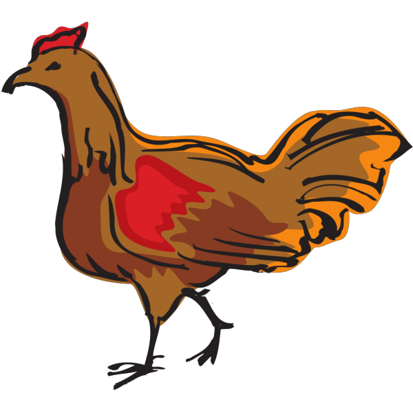 Walking Brown Chicken PNG Clip art