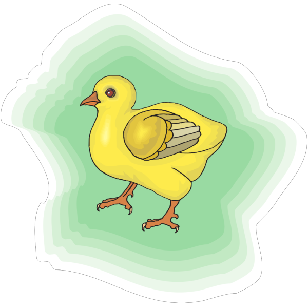 Baby Chick With Green Background PNG icon
