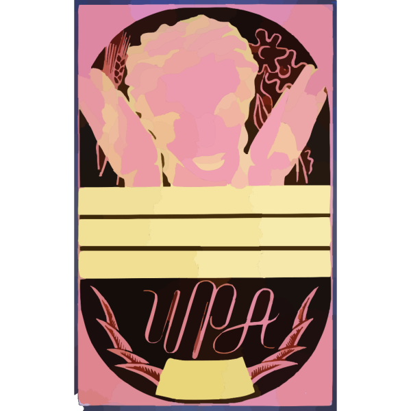 [wpa Poster Design On Red Background Showing The Head And Hands Of A Woman Holding Flowers And Wheat Above A Blank Banner] PNG Clip art