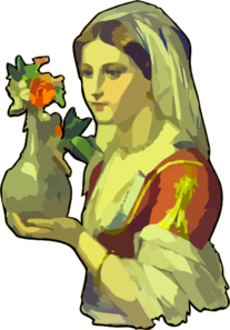 Lady Carrying Flower Vase PNG Clip art