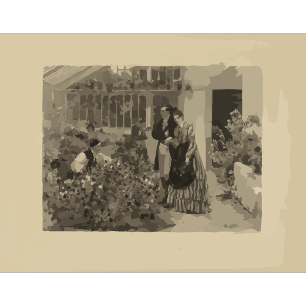 Man Woman Picking Flowers PNG Clip art