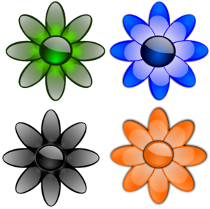 Glossy Flowers PNG Clip art