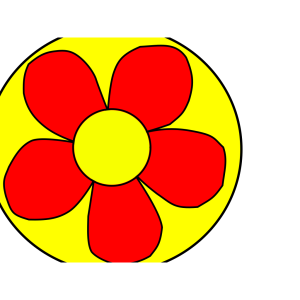 Red Flower With Yellow Background PNG Clip art