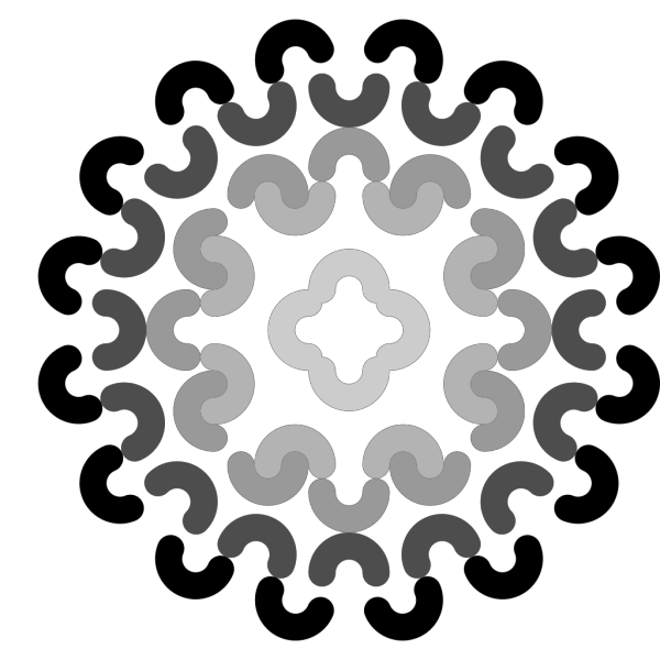 Grayscale Flower Decoration PNG Clip art
