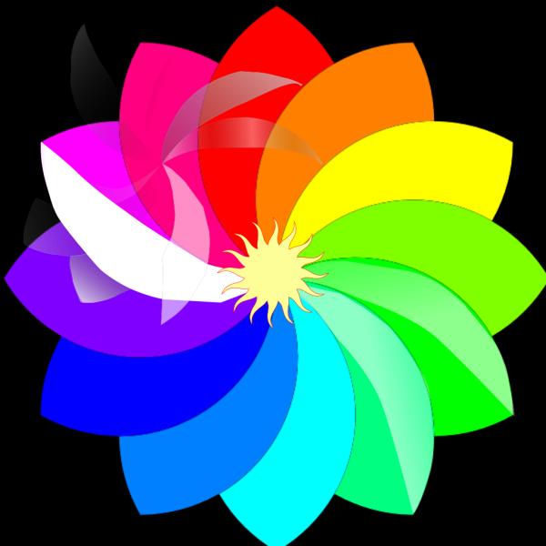 Rainbow Flower Wreath PNG Clip art