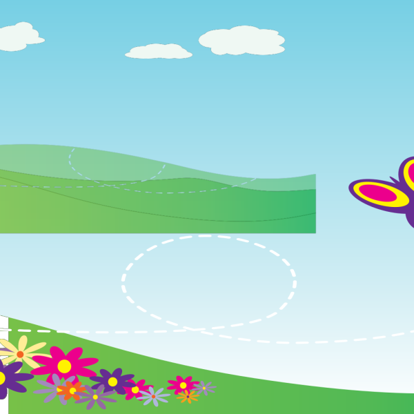 Hillside With Flowers Long PNG Clip art