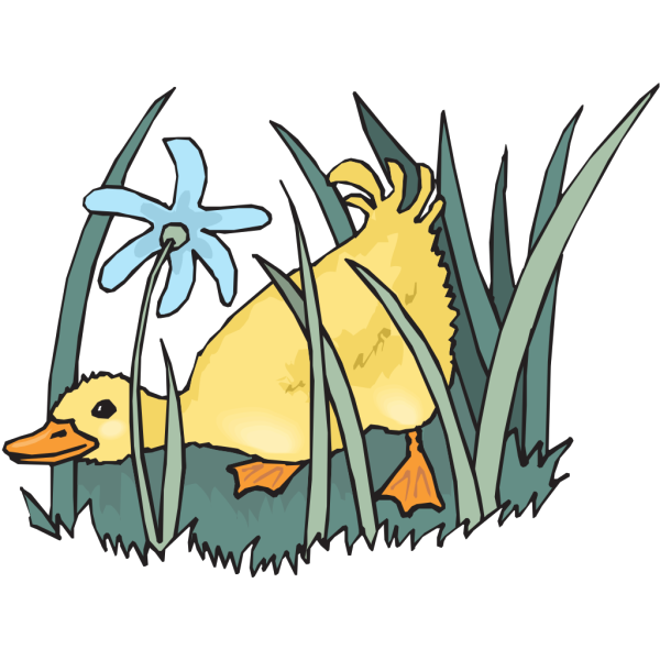 Duckling In The Grass PNG Clip art