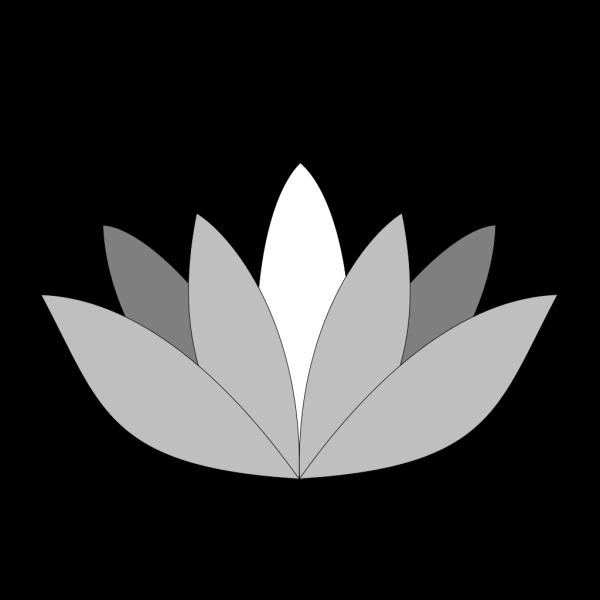 Greyscale Lotus Flower PNG Clip art