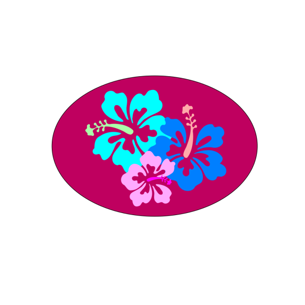 Hibiscus In Oval PNG Clip art