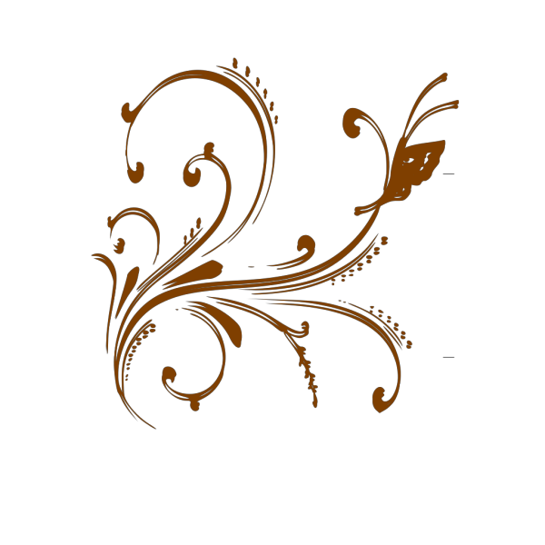 Gold Floral Design With Butterfly PNG Clip art