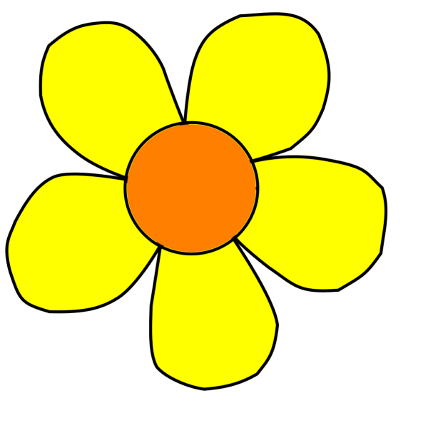 Orange And Yellow Flower Nonshaded PNG Clip art