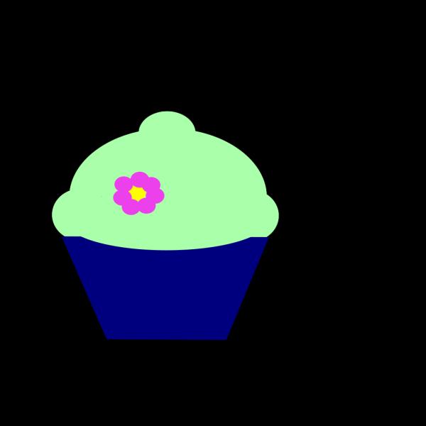 Cupcake Blue Flower PNG Clip art