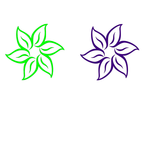 Lime Green And Purple Flower PNG Clip art