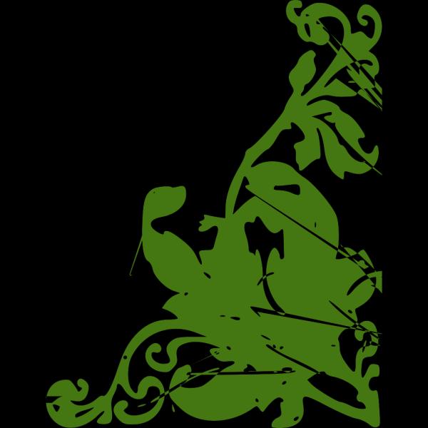Decorative Flower Corner Green PNG Clip art