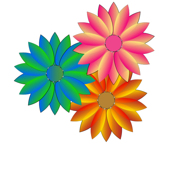Multi Coloured Daisies PNG Clip art
