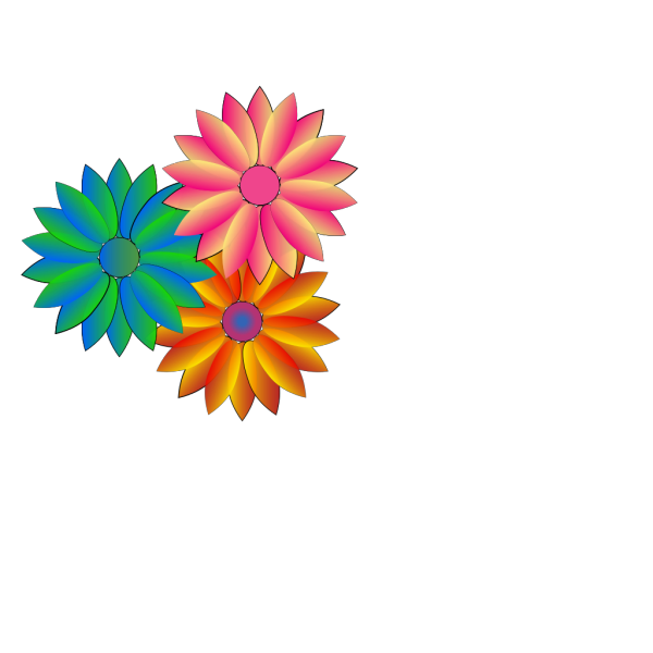 Coloured Daisies PNG Clip art