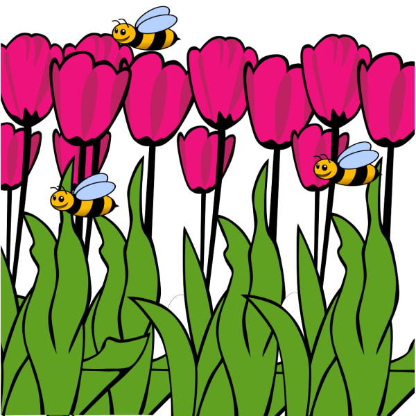 Bees On Tulips  PNG Clip art