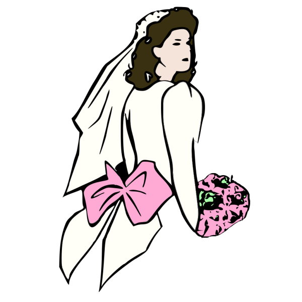 Bride With Pink Flowers PNG Clip art