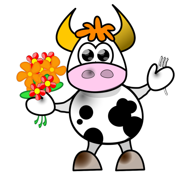 Cow With Flowers And Fork PNG Clip art