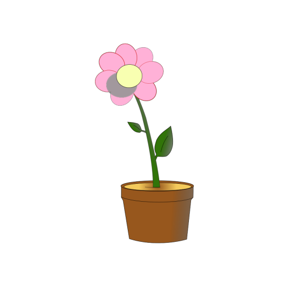 Pink Flower In Pot PNG Clip art