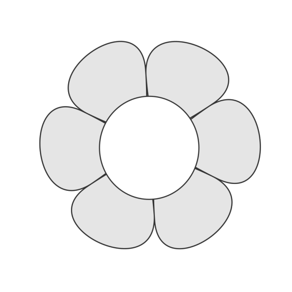 Uncolored Daisy PNG Clip art