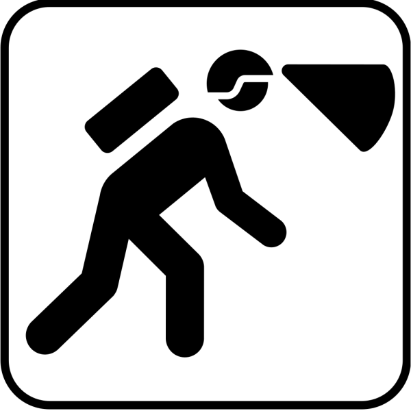 Walking In The Dark With Light In Helmet PNG icons